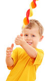 Boy with lollipop. 4-5 years old boy with lollipop on white - kids stock images