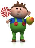 Boy with lollipop and apple Royalty Free Stock Images