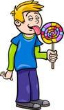 Boy with lollipop cartoon illustration Stock Image
