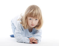 Boy with long blond hair Royalty Free Stock Image