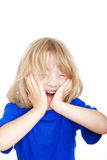 Boy with long hair laughing Stock Photography