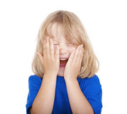 Boy with long hair laughing Royalty Free Stock Image