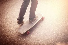 Boy on a longboard Stock Image