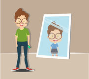 Boy look him body in the mirror. Office worker character pretend to be strong man in mirror Stock Images
