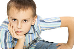 The boy looked intently into the distance. Stock Photography