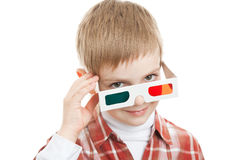 Boy looking through 3d glasses Royalty Free Stock Photo