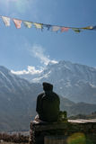 Boy looking at Annapurna II peak, Nepal Stock Photography
