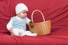 Boy looking into the basket Stock Image