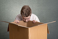Boy looking in a big cardboard box Royalty Free Stock Photos