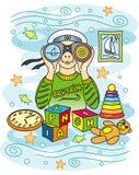 Boy looking through binoculars. Children's fantasy Stock Illustration