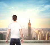 Boy looking at city Stock Image