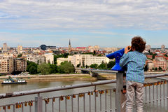 Boy looking at the city Royalty Free Stock Images