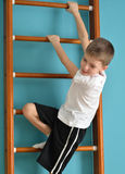 Boy looking down from the ladder Stock Images