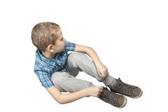 Boy looking down right_iso Royalty Free Stock Photo