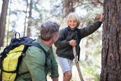 Boy looking at father while standing by tree trunk. Cheerful boy looking at father while standing by tree trunk in forest Royalty Free Stock Photo