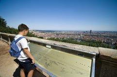 Boy looking at Lyon city Royalty Free Stock Images