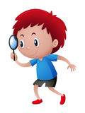 Boy looking through magnifying glass royalty free illustration