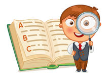 Boy looking through a magnifying glass. Schoolboy is looking for words in the encyclopedia. Little boy looking through a magnifying glass. Funny cartoon stock illustration