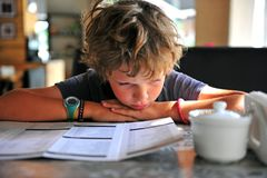 A boy looking at menu. In restaurant stock photography