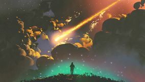 Boy looking the meteor in the colorful sky. Night scenery of a boy looking the meteor in the colorful sky, digital art style, illustration painting