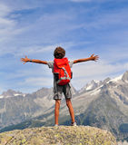 Boy looking at mountains Royalty Free Stock Image
