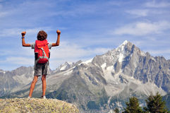 Boy looking at mountains, France Royalty Free Stock Photo