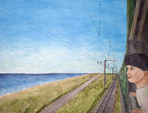 Boy looking out of train. Illustration of boy looking out of window of electric train travelling beside a road and the blue sea painted in oils Royalty Free Stock Photo