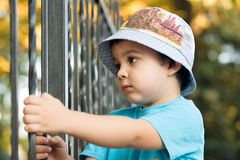Boy looking over the fence Stock Photo