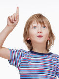 Boy Looking, Raising his Hand, Pointing up Royalty Free Stock Photography