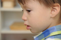 Boy looking sad closeup Royalty Free Stock Photos