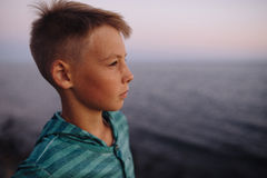 Boy looking at the sea Royalty Free Stock Image