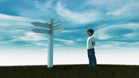 Boy looking signs and making decisions. CGI Boy looking signs and making decisions Royalty Free Stock Photo
