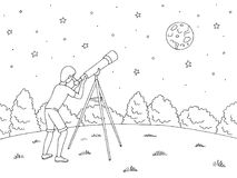 Boy is looking at the stars through a telescope. Night landscape graphic black white landscape sketch illustration vector vector illustration