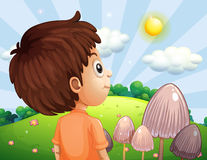 A boy looking at the sun vector illustration