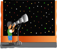 Boy looking in telescope Stock Photo
