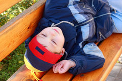 Boy looking to sky Stock Photography