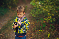 Boy looking to smartphone in your hand Royalty Free Stock Photography
