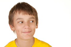Boy looking into white copyspace Stock Photo