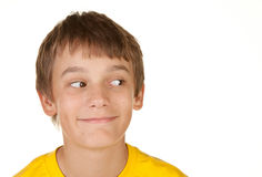 Boy looking at white copyspace Stock Images