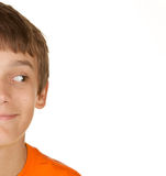 Boy looking at white copyspace Royalty Free Stock Photo