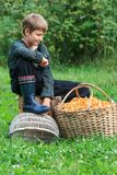 Boy looking at wicker basket full of chanterelles Royalty Free Stock Image