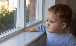 Boy looking through a window Stock Photography