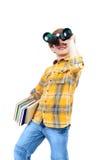 The boy looks into binocular Royalty Free Stock Photos