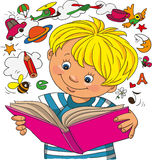 Boy looks in a book. A little boy studies on a book, objects take off from a book royalty free illustration