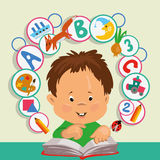 Boy looks in a book. A little boy studies on a book, objects take off from a book vector illustration