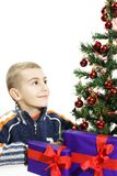 Boy looks at Christmas Tree Royalty Free Stock Photos