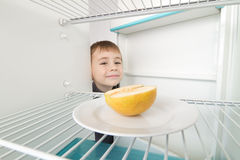 Boy Looks Empty Refrigerator Stock Photos