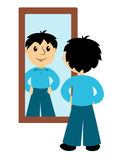 The boy looks in a mirror Royalty Free Stock Photography