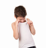 Boy looks under her shirt Royalty Free Stock Images