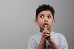 A boy looks up Royalty Free Stock Photo